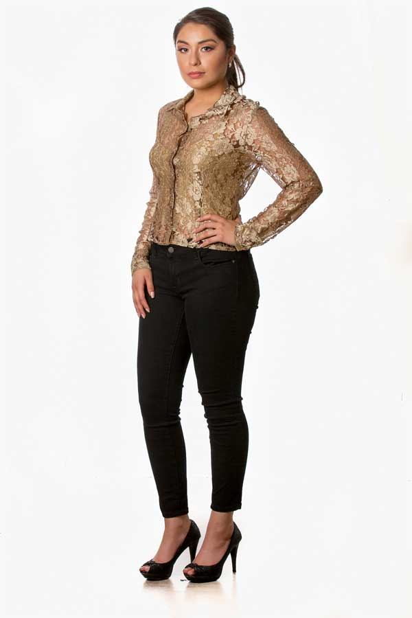 cd446db9036a80 Shop Eliza Nagari Women's Gold Lace Blouse with Buttons in the Front and Long  sleeves