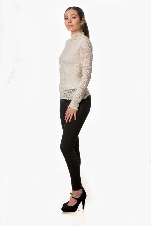 aa2f901b5d8 Women's See Through White Lace Blouse - Eliza Nagari